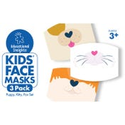 Kids' Face Masks 3-Pack Puppy, Kitty, Fox Set