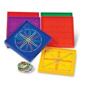 "5"" Assorted Geoboards, 5 x 5 Pin (Set of 6)"