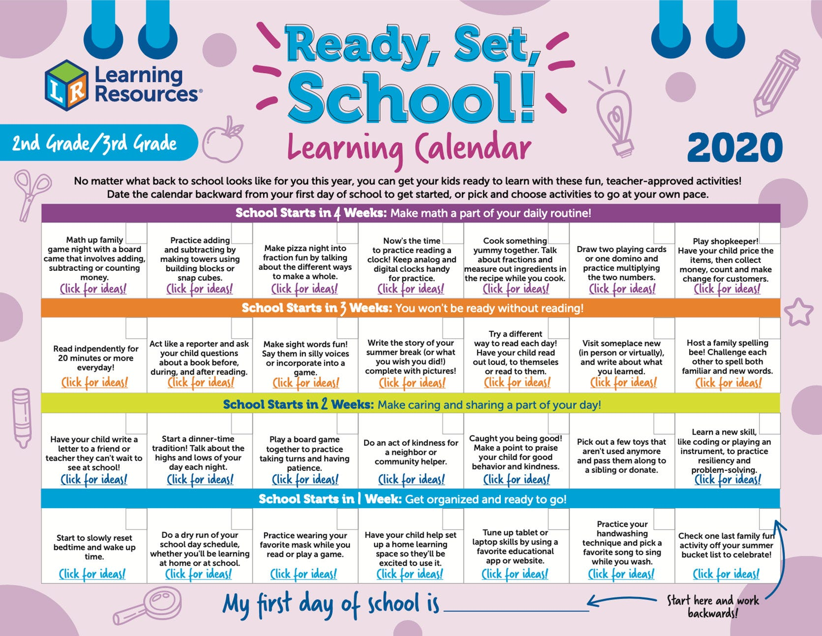 Ready, Set, School 2nd/3rd Grade Learning Calendars