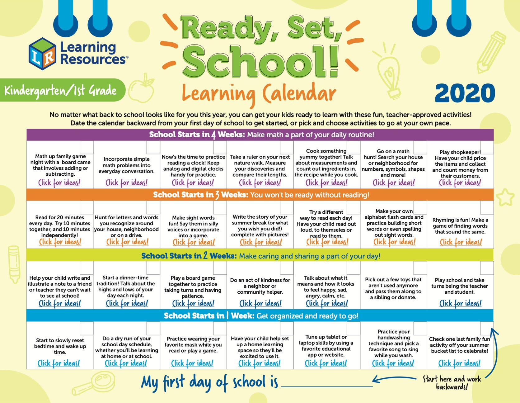 Ready, Set, School Kindergarten/1st Grade Learning Calendar