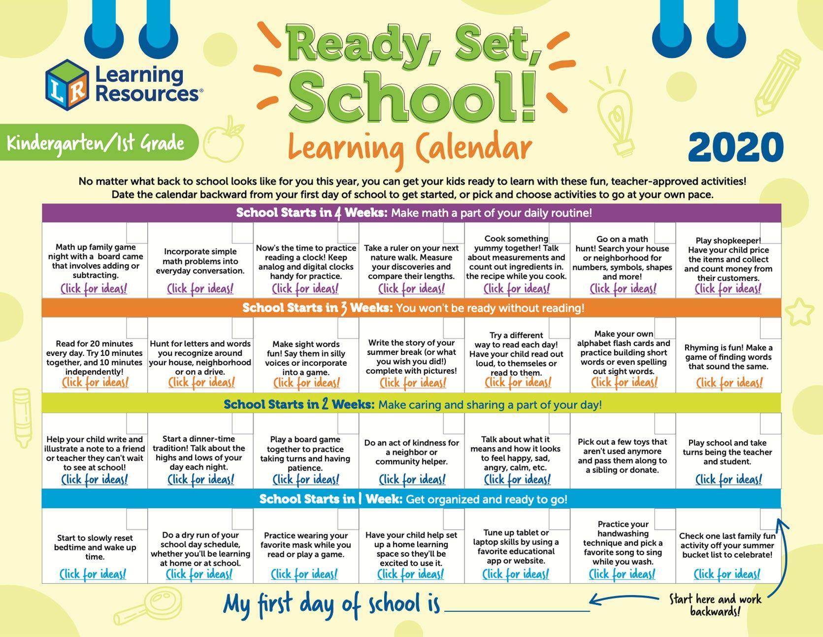 Kindergarten/1st Grade Learning Calendar