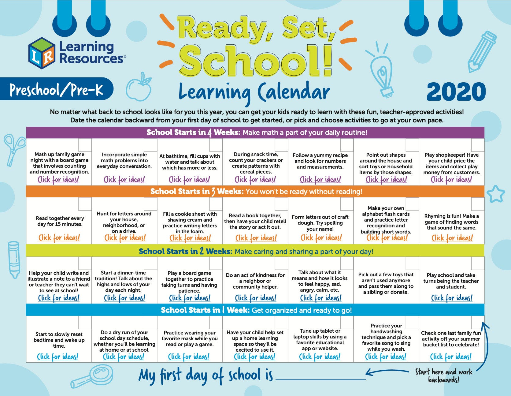 Ready, Set, School Preschool/Pre-k Learning Calendar