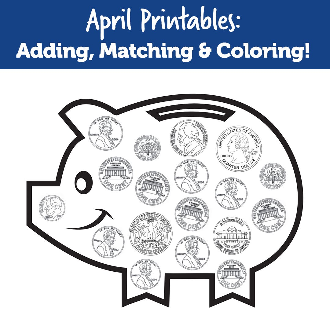 April Printables: Adding, Matching & Coloring!