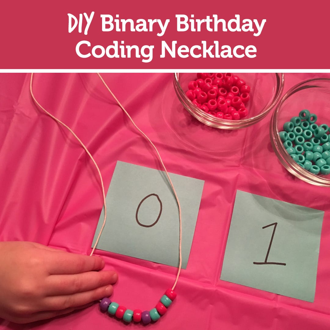 DIY: Binary Birthday Coding Necklace