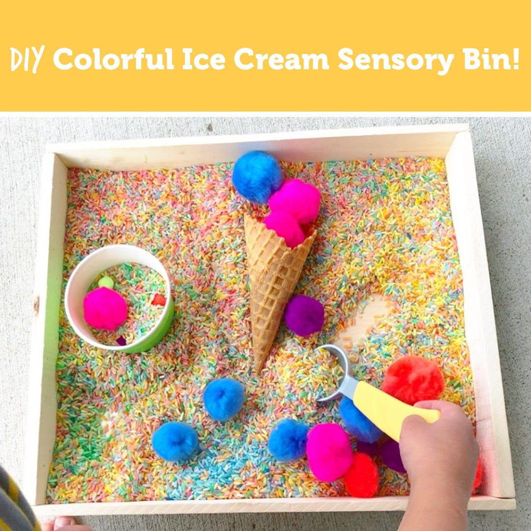 Colorful Ice Cream Sensory Bin!