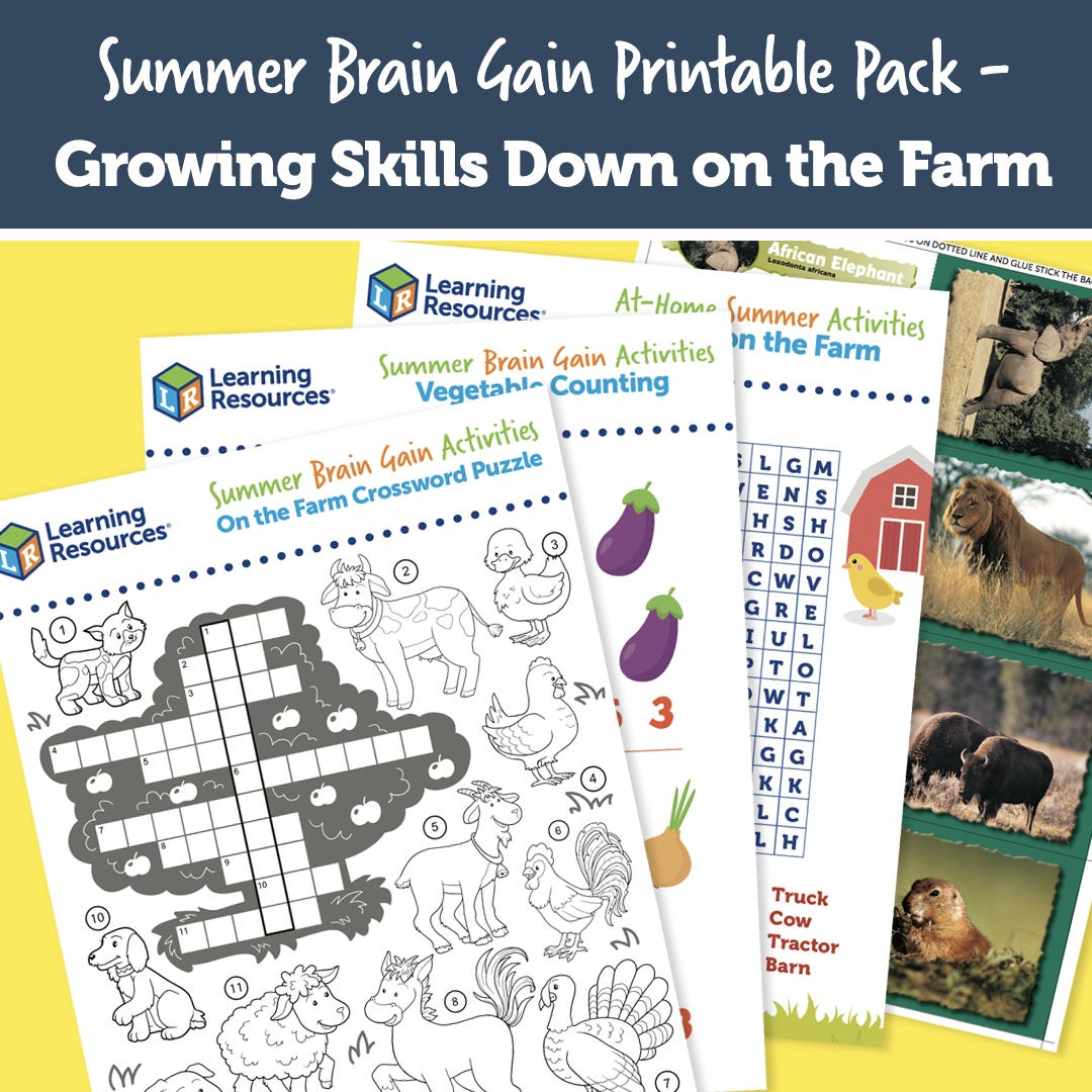 Summer Brain Gain Printable Pack Growing Skills on the Farm