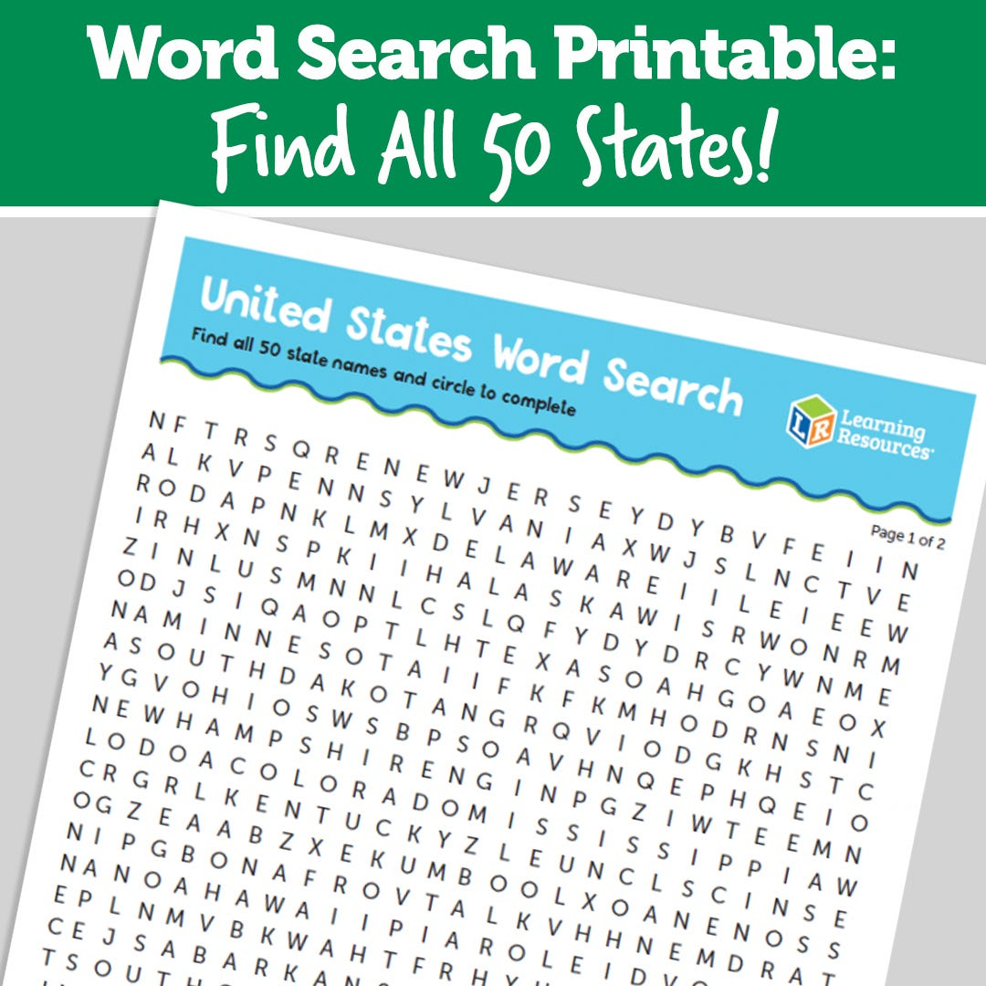 Word Search Printable: Find All 50 States!